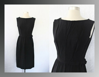 3955905e4b8320 Vintage 50s 60s Black Poly Crepe Sleeveless Cocktail Dress Evening Formal  VLV