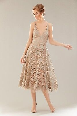 DRESS the POPULATION Silver Nude Sequin Embellished Lace Blair Fit Flare Midi L