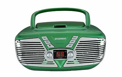 Sylvania CESRCD211-BLK Portable Retro CD Boombox with AM/FM Radio Green