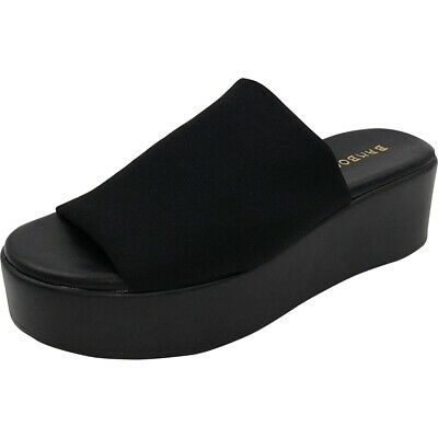 BAMBOO Bonus Women/'s Open Toe Slip On Raised Platform Sandals in Black