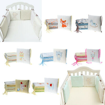 6PCs Baby Crib Bumper Breathable Comfy Cotton Infant Toddler Bed Cot Protector
