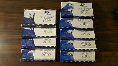 1999-2007 United States Mint 50 Quarters Proof Sets 9 Sets Coa Free Shipping 500