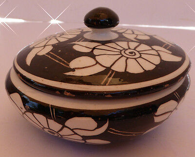 Italian / Italy Vintage Hand Made Floral Black/White Bowl With Lid Numbered