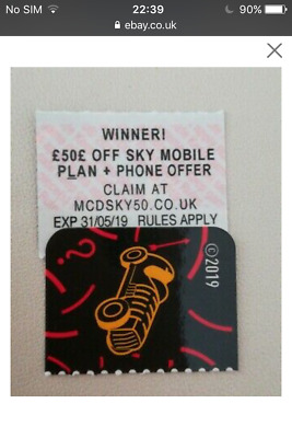 Mcdonalds 2019 Monopoly Instant Win - £50 off sky mobile plan +phone offer