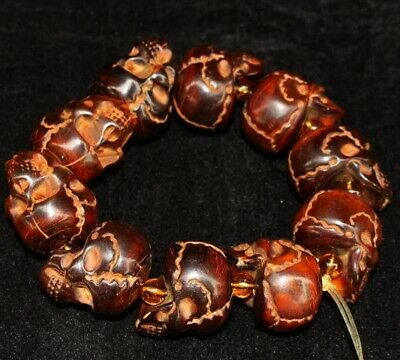 Collectable China Old Ox Horn Hand Carve Vicious Skull Unique Exorcism Bracelet