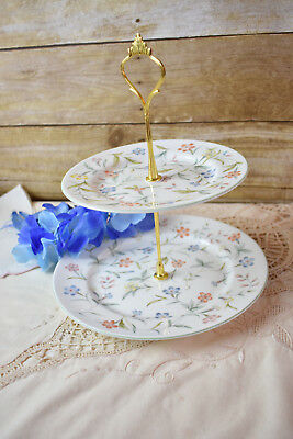 Aynsley forever Cake Stand Server 2 Tiered Server Pastry Stand Cupcake
