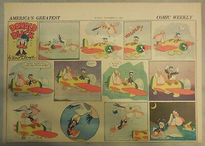 Donald Duck Sunday Page by Walt Disney from 11/10/1940 Half Page Size