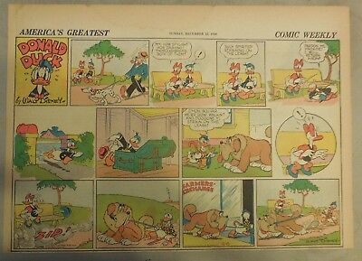 Donald Duck Sunday Page by Walt Disney from 12/15/1940 Half Page Size