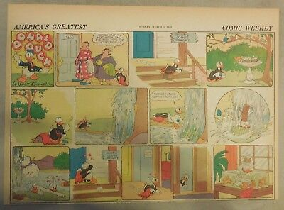 Donald Duck Sunday Page by Walt Disney from 3/3/1940 Half Page Size