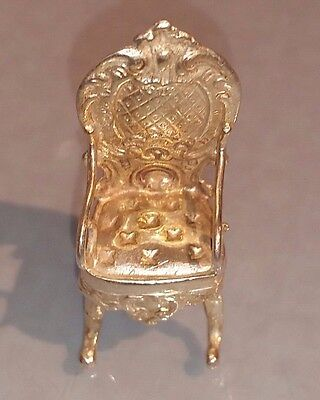 Novelty miniature silver armchair baroque style German 800 silver