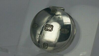 Solid silver pill box with bold hallmarks to the cover tight closure