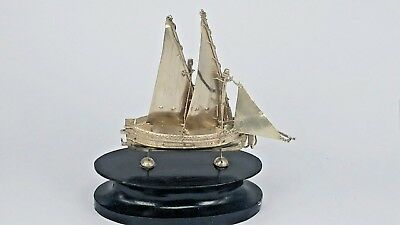 Maltese silver miniature  boat on a wooden stand hallmarked 917 s