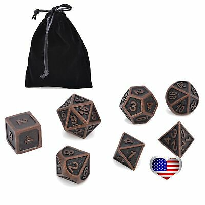 Antique Metal Polyhedral Dice DND RPG MTG Role Playing Game With Bag 7Pcs/set