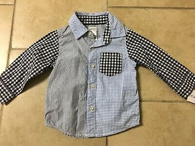 NWT Carter's Blue Gingham/striped Button Up Shirt, Baby Boy Size 12 Month