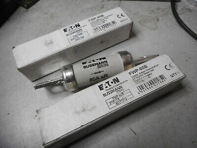 EATON BUSSMAN FAST ACTING FUSES -- Qty of 2 -- 80amps aR Type -- FWP-80B