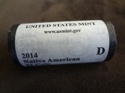 2014 Native American $1 Coin Roll Of 25 NWOT Denver Mint Free Shipping