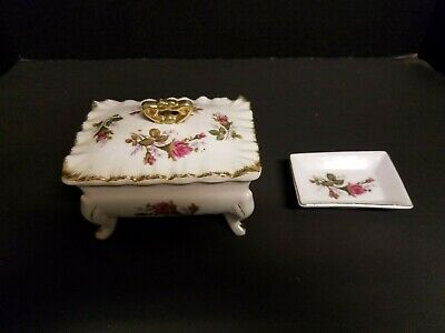 Vintage Porcelain Footed Trinket Box w/Lid and Matching Ring Tray  1B