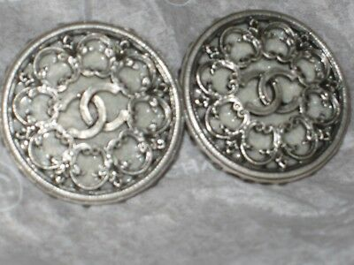 Chanel Cc Logo  Front 2 Auth  Buttons  Silver Metal 12 Mm / Around 1/2'' Lot Two