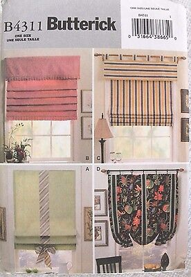 Butterick B4311 Decorative Fabric Window Shades Uncut Sewing Pattern