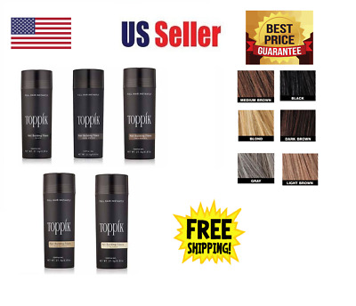 Toppik Hair Building Fibers 27.5g Black Light Medium Dark Brown FREE SHIPPING