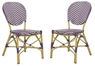 Lisbeth Stacking Side Chair in Purple and White - Set of 2 [ID 3753138]