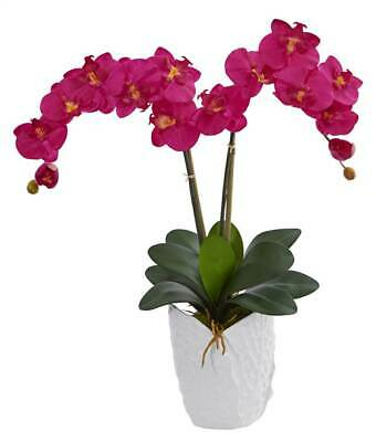 Double Phalaenopsis Silk Orchid Arrangement in Ceramic Vase ID 3805361