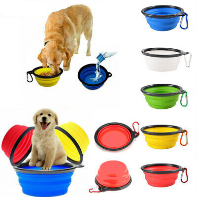 Folding Pet Dog Water Bowl Cats Outfit Outdoor Foods Feeder Collapsible Feeding