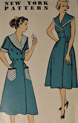 Vintage Sewing Pattern 40s Day Dress Brunch Coat 16-34 New York Pattern