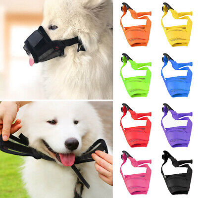 Dog Safety Muzzle Adjustable Biting Barking Chewing Small Medium Large Mesh New