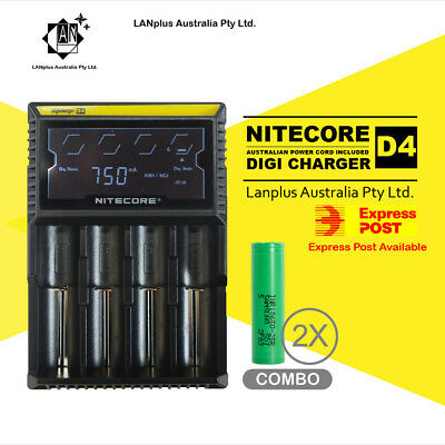 Nitecore D4 Digi Battery Charger + 2X Samsung 25R 3.7v Li-ion Rechargeable Batte