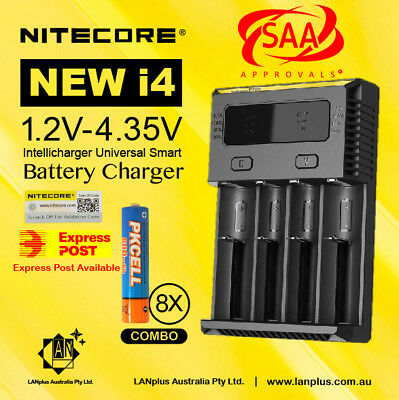 Nitecore New i4 battery charger +8X 1.2V 900mAh AAA  Rechargeable Battery
