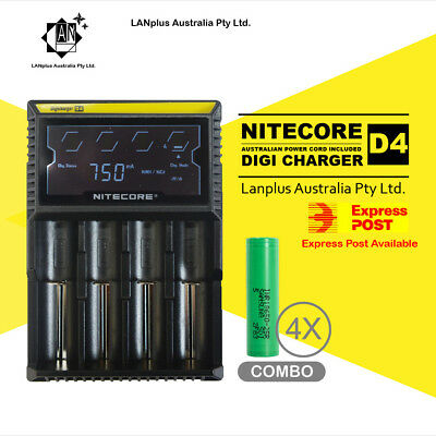 Nitecore D4 Digi Battery Charger + 4X Samsung 25R 3.7v Li-ion Rechargeable Batte