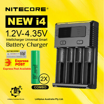 Nitecore new I4 Battery Charger + 2X Samsung 25R 2500mAh Li-ion Rechargeable Bat