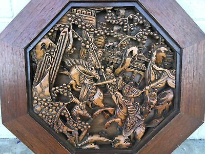 Vintage Chinese Hand Carved Solid Wood Wall Plaque Warriors Horses Openwork