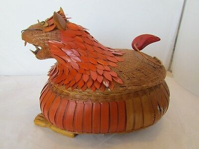 Vintage Chinese Dragon Covered Basket Decoration Container Chinese Dragon Basket