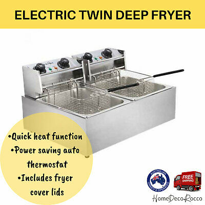 Commercial Deep Fryer Twin Electric Basket Benchtop Cooker Stainless Steel NEW
