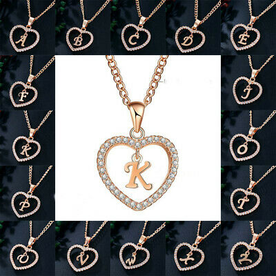 Personalised Rose Gold Tone Initial Letter Alphabet A - Z Pendant Chain Necklace