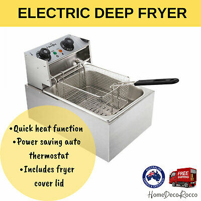 Electric Deep Single Fryer Commercial Stainless Steel Chip Cooker Basket 2500W