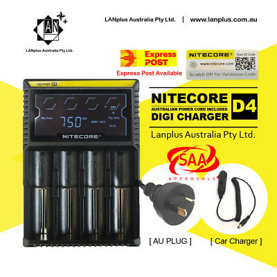 Nitecore D4 Digicharger LCD 4 channel Smart Battery Charger lifepo4 Ni-MH Ni-CD