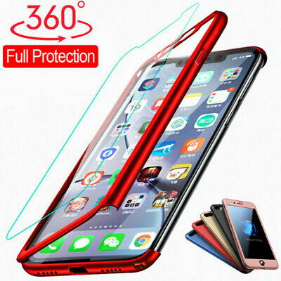 360° Full Cover Hybrid Slim Case+Tempered Glass For iPhone XS Max XR X 8 7 6Plus
