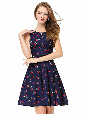895e6a4ce24 Alisa Pan Floral Round Neck Sleeveless A Line Gown Short Navy Causal Dress  05488