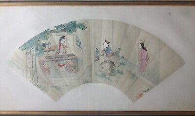 Eventail Chine Femmes Poeme Sceau Cachet Calligraphie Ming Qing 18/19 eme