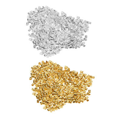 600pcs Silver/Gold Crimp Tubes Metal Beads Stopper Jewelry Findings 1.5mm - 2mm