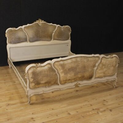 Bed Venetian king bed furniture antique style wood lacquered silvered 900