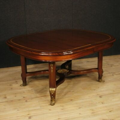 Extendable table french furniture wooden mahogany inlaid antique style hall