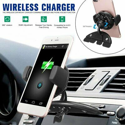CD SLOT HOLDER Qi Wireless Charger Car Stand Mount for