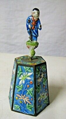 """Chinese Figural Blue Enamel Bell w Immortal Figure Handle,5.5"""" tall"""