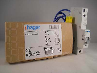 Hager RCBO 32 Amp 30mA Type C 32A 106760 C32 ADC Range ADC132 NEW