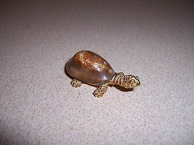 Vtg Brass & Seashell Turtle Figurine