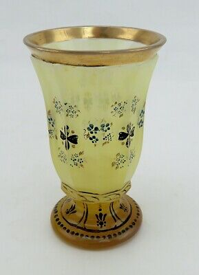 Antique French Opaline Pale Chartreuse Yellow Gilt HandPainted Footed Glass Vase